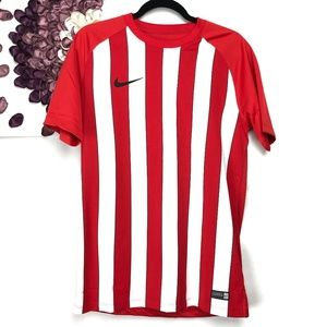 Nike Red & White Striped Official Soccer Jersey